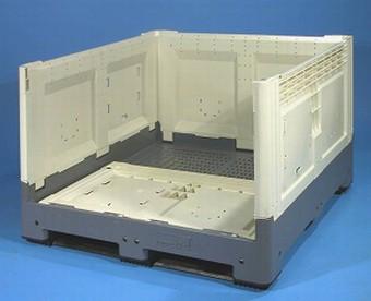 Container plastik besar - jual box plastik,  Folding Solid,  4-way,  3 Skids,  ISO 1200x1000