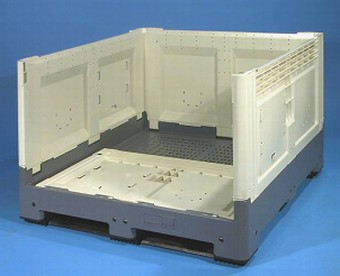 Container plastik besar - jual box plastik,  Folding Solid,  4-way,  3 Skids,  Jumbo 1200x1200