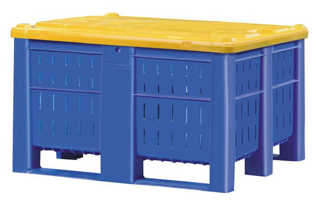 Container plastik besar - jual box plastik,  Vented,  4-way,  2 runners + 2 legs,  ISO 1200x1000
