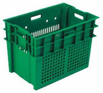 Container plastik - jual box di indonesia, PP, Stack and nest, Food, Reusable/RPC, Vented, C2GP1027-13V