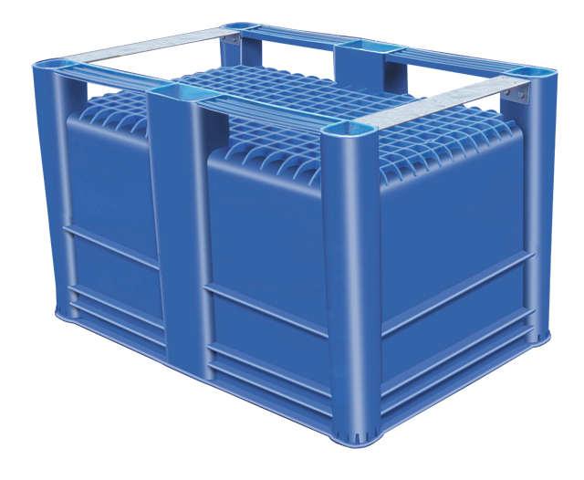plastic Bulk Container, best plastic bin indonesia, Metal runners, HDPE, Euro 1200x800, B2GD1208H74SMR
