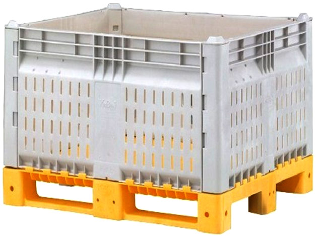 Plastic Bulk Container - best plastic box in Indonesia, Vented folding, HDPE, ISO 1200x1000, B2GD1210KTV