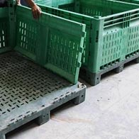 Plastic Bulk Container - best pallet box in Indonesia, Vented folding, HDPE, ISO 1200x1000, B2GD1210KTV