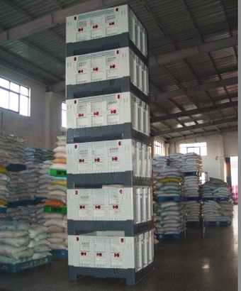 plastic pallet boxes, solid folding bulk container by plastic 2 go indonesia - stack 6 bins high!