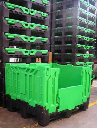 plastic pallet boxes, solid folding bulk container by plastic 2 go indonesia - save room in storage!>  The international trend has shifted towards the use of plastic intermediate bulk containers. Plastic intermediate bulk containers are already in use for storage and shipping in a wide range of industries such as: agriculture, automotive, clothing, electronics, food, fruits and vegetables, groceries in supermarket chains, dairy, fisheries, freight forwarding, household goods, nurseries, pharmaceuticals, packaging and logistics. Bulk containers are used for health care, medical and cosmetics, arts, crafts and paint, in schools and day care centres, for hardware, for laboratory research, for musical equipments, for hunting, fishing and outdoor sport storage, and for storage of lubricants, sealants and adhesives. Their uses are diverse and the applications are endless.<br/><br/> Today, all companies, up and down the supply chain, are demanding lower costs from each of their suppliers as competition increases. Returnable and reusable transport packaging offers not only reduced costs, but also increased efficiencies over most forms of one-way packaging.<br/><br/> Plastic intermediate bulk containers are used in a wide range of applications. Some items, such as food packaging, become waste only a short time after purchase. The greatest advantage of plastic intermediate bulk containers is that they lend themselves to be reused many times over and they save on the cost involved with shipping the container from place to place. <h3>Plastic intermediate bulk containers (IBC) for the food industry</h3> The food industry is the main market for intermediate bulk containers. Plastic2go manufactures and distributes plastic intermediate bulk containers that are stackable, rackable and foldable, roll-out containers and more. In the food industry the need to keep the produce fresh, freeze, ventilate and withstand heat of cooked food with no risk of contamination, makes the plastic bulk container the best solution for the industry.<br/><br/> In the food industry, the need to store food for long periods in freezing conditions becomes a necessity that only intermediate bulk containers can handle. Many products are picked in season, processed and frozen for periods of up to 14 month in plastic intermediate bulk containers that can stand the freezing conditions and change in temperature, not like the wooden one. All food in supermarket freezers have been stored in cold places and needed a storage product that can handle the cold and not in risk of contamination.<br/><br/> Plastic intermediate bulk containers are used to store from light weight to heavy weight good and it is the most efficient and effective way to move food through all links of the distribution chain.<br/><br/> Plastic bulk containers are usually loaded in any segment of the material handling process, and then stored or shipped to new locations.<br/><br/> Plastic bulk containers help protect delicate and fragile food products, from each stage of the processing through the warehouse or distribution centre, all the way until they reach the merchant's shelves.<br/><br/> The use of plastic intermediate bulk containers provides smooth, protective handling, good stability and excellent ventilation if needed.<br/><br/> Many companies around the world dealing with food processing are moving to usage of plastic intermediate bulk container over wood containers.  The high hygiene standards essential in the food industry can be easily attained using intermediate bulk containers.  Wood containers are subject to fungi and presence of water and moist increases their vulnerability to bacteria and risk wastage of food.<br/><br/> Plastic intermediate bulk containers reduce quarantine costs. In some countries around the world every container entering the country containing wood needs to go through quarantine. Wood intermediate bulk containers need to be fumigated to ensure that fungi, bacteria and small insects residing in the wood do not enter the country. Australia and NZ are very strict in their quarantine procedures.  Wooden pallets need to be separated from the load and fumigated and if the product is inside a wood container the whole container will require fumigation. In many industries, like the food industry, the process is costly, time consuming and might damage the goods.<br/><br/> In the food industry, returnable plastic intermediate bulk containers, which are rigid for outbound trips and foldable for inbound trips, are now being used to transport all types of produce between manufacturers and supermarkets all over the world. With its special suitable heavy load pallet moulded to the bottom, this bulk container does not need to be reloaded onto a pallet. The pallet attached to the container makes the intermediate bulk containers creates uniformity and makes it a stable and more efficient unit load.<br/><br/> Reusing plastic intermediate bulk container is preferable to recycling as it uses less energy and fewer resources. Long life, multi-trip plastics packaging has become more widespread in recent years, replacing less durable and single-trip alternatives, so reducing waste. For example, in the UK alone, the major supermarkets have increased their use of returnable plastic crates and containers and the use is increasing every day. Plastic intermediate bulk containers last up to 20 years and can be recycled at the end of their useful life.<br/><br/> Reduced packaging waste is not the only benefit of using plastic bulk containers instead of corrugated boxes or wooden bulk containers for produce.  Better protection and reduced chilling time means more produce gets to its destination quicker and fresher than ever before.  Sturdier transport packaging means fewer collapsed loads due to moisture-saturated cardboard.  The use of plastic intermediate bulk containers is efficient in reducing warehouse space because containers can be stacked or folded on top of each other without fear of damaging precious unit loads.<br/><br/> Standard wooden bulk containers are used for all products that are not sensitive to weather or water. They cannot be used for dairy, health, beauty aids, automated meat systems or frozen food storage. Plastic intermediate bulk containers are more suitable for use in the food industry because of their ability to stand water or bad weather and be in automated systems or frozen storage.<br/><br/> Plastic intermediate bulk containers, used in distribution and storage industries are an advanced reproduction of the traditional wooden bulk container.<br/><br/> The use of plastic bulk container has also increased because of awareness of global warming. Their reusable quality and recycling possibility, makes them the best option in the market today. <h3>Plastic Intermediate Bulk Containers for the Wine Industry</h3> The wine industry is one of the big divisions of the food industry that need to keep their produce fresh.<br/><br/> Plastic intermediate bulk containers are used to store grapes or liquid and are the most efficient and effective way to move them through all links of winery process.<br/><br/> Plastic bulk containers are usually loaded in any segment of the winery process, and then stored or shipped to new locations.<br/><br/> The use of plastic intermediate bulk containers provides smooth, protective handling, good stability and excellent ventilation if needed.<br/><br/> Many companies around the world dealing with food processing are moving to the usage of intermediate bulk container over wood containers.  They high hygiene standards essential in the winery industry can be easily attained using intermediate bulk container.  Wood containers are subject to fungi and presence of water and moisture increase their vulnerability to bacteria presence, damage the quality of the wine and risk the wastage of the food.<br/><br/> In the wine industry, returnable plastic intermediate bulk containers, which are rigid for outbound trips and foldable for inbound trips, are now being used to transport all types of products through packaging to supermarkets all over the world.  With its special heavy load pallet moulded to the bottom, this bulk container does not need to be reloaded onto a pallet.  The pallet attached to the container makes the intermediate bulk container stable and thus a more efficient loading unit.<br/><br/> Plastic intermediate bulk containers are suitable in any automated food processing facility because they are uniform in shape and can stand water and moisture.<br/><br/> Reusing plastic intermediate bulk container is preferable to recycling as it uses less energy and fewer resources. Long life, multi-trip plastic packaging has become more widespread in recent years, replacing less durable and single-trip alternatives, therefore reducing waste.  Plastic intermediate bulk containers last up to 20 years and can be recycled when no longer in use.<br/><br/> Reduced packaging waste is not the only benefit of using plastic bulk containers instead of corrugated boxes or wooden bulk containers for produce.  Better protection and reduced chilling time means more produce gets to its destination faster and fresher than ever before.  Sturdier transport packaging means fewer collapsed loads from moisture-saturated cardboard.  The use of plastic intermediate bulk containers is efficient in reducing warehouse space because they can be stacked or folded one on top of the other without fear of damaging their unit loads.<br/><br/> Plastic intermediate bulk containers are more suitable for use in the wine industry because of their ability to stand water or bad weather and be in automated systems or frozen storage.<br/><br/> Plastic intermediate bulk containers, used in distribution and storage industries are an advanced reproduction of the traditional wooden bulk container.<br/><br/> The use of plastic bulk container has also increased because of awareness of global warming. Their reusable quality and recycling possibility, makes them the best option in the market today. <h3>Plastic Intermediate Bulk Containers for the Fruit and Vegetable Industry</h3><img src=
